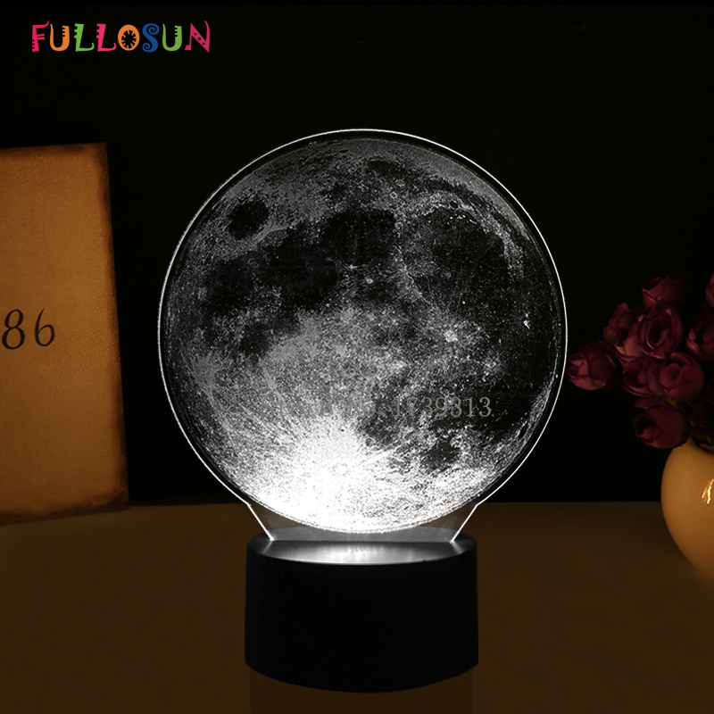 Novelty 3D Moon Lights LED Baby Lights Romantic Atmosphere 3D Night Lamp 7 Colors 3D Decorative Lamp as Christmas Gift