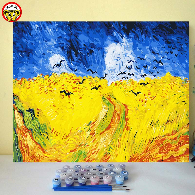 Van Gogh crow Wheat fields Famous popular decoracion painting picture by numbers poster wall art canvas paintings on the wall