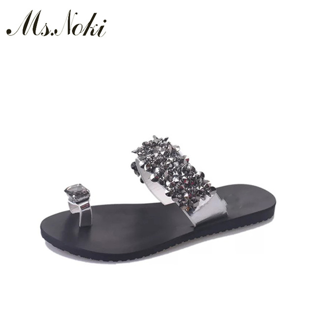 d47388ec4f200c Women Sandals 2018 Ladies Summer Slippers Shoes Women Hot Flat Sandals  Fashion Bling Crystal summer shoes new Ms.Noki for ladies