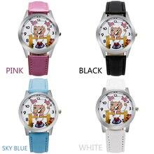 O3 Модные женские коз мультфильм лицо дамы детей часы кварцевые моделирование часы для девочек Подарки Искусственная кожа Лидер продаж