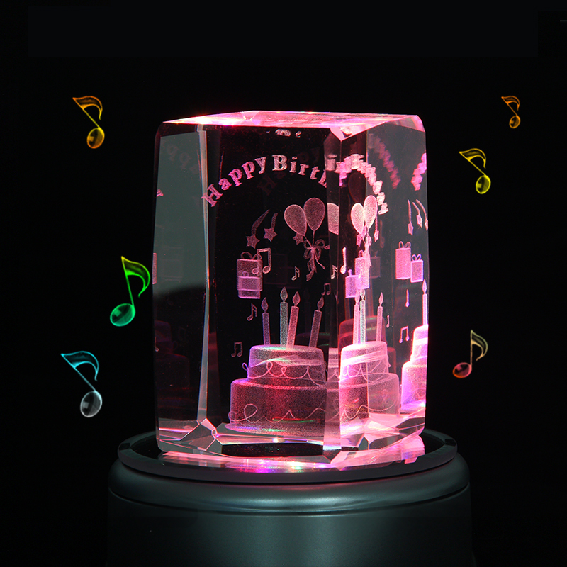 Engraved Music Box Crystal Birthday Cake Colorful 3D Rotating Custom