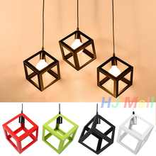 цена на Hanging Light Square Lampshade E27 Bulb Retro Ceiling Light Fitting Lamp Guard Wire Cage Lamp Cover Lamp shades Chandelier