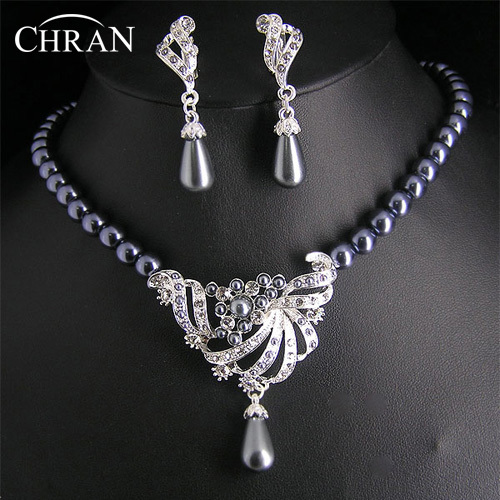 CHRAN Party Gifts Rhodium African Crsytal Necklace Dangle Earrings Sets Elegant Costume Imitation Pearl Jewelry Set For Women