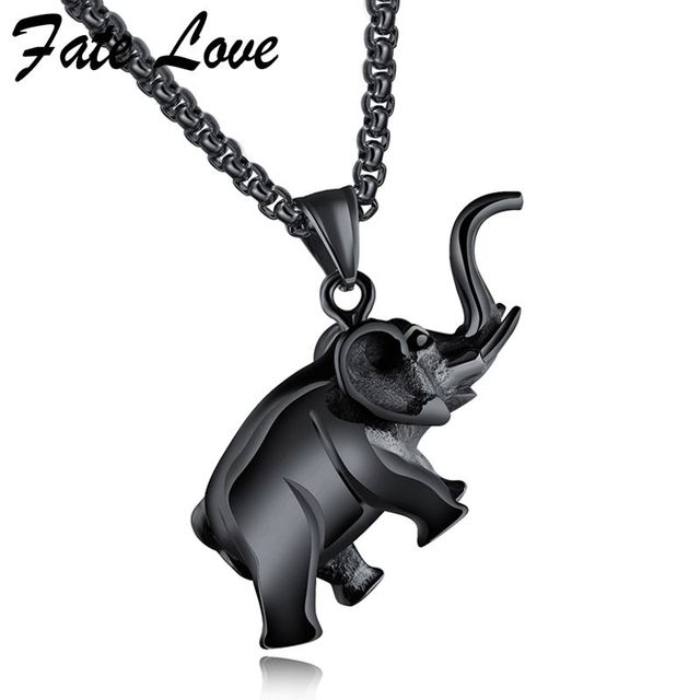 Fashion animal elephant necklace men jewelry accessories stainless fashion animal elephant necklace men jewelry accessories stainless steel box chain pendants necklaces mens jewellery collier aloadofball Images