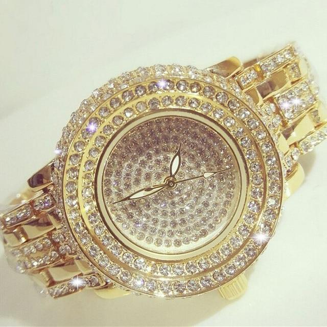 2016 Hot Sale Women Watches Lady Diamond Stone Dress Watch Gold Silver Stainless Steel Rhineston Wristwatch Female Crystal Watch