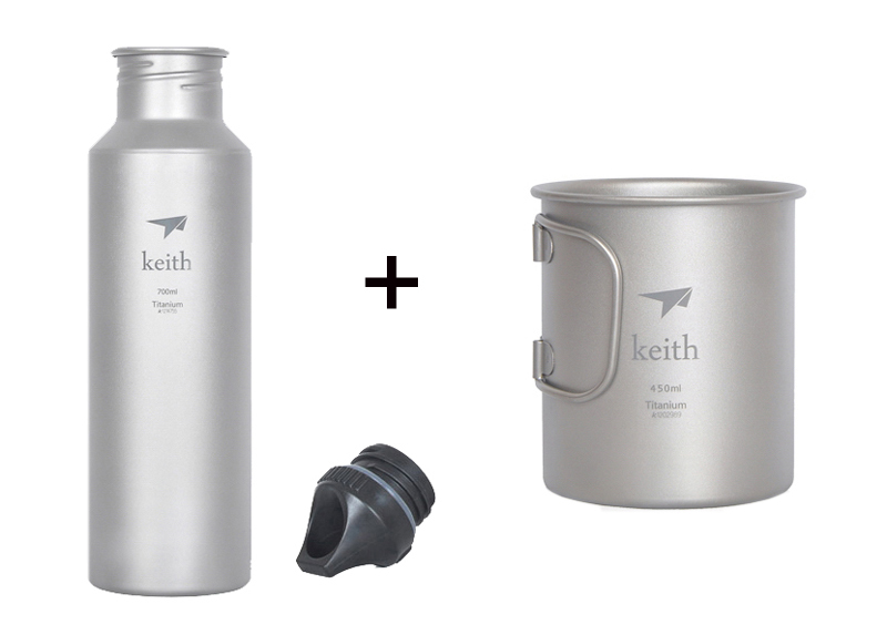 Keith Titanium Cup Camping Bottle Outdoor Mug Sport Bottle Picnic Tableware Ti52810 keith pure titanium chinese kongfu tea cup double wall water mug outdoor travel hiking picnic tableware utensils only 22g