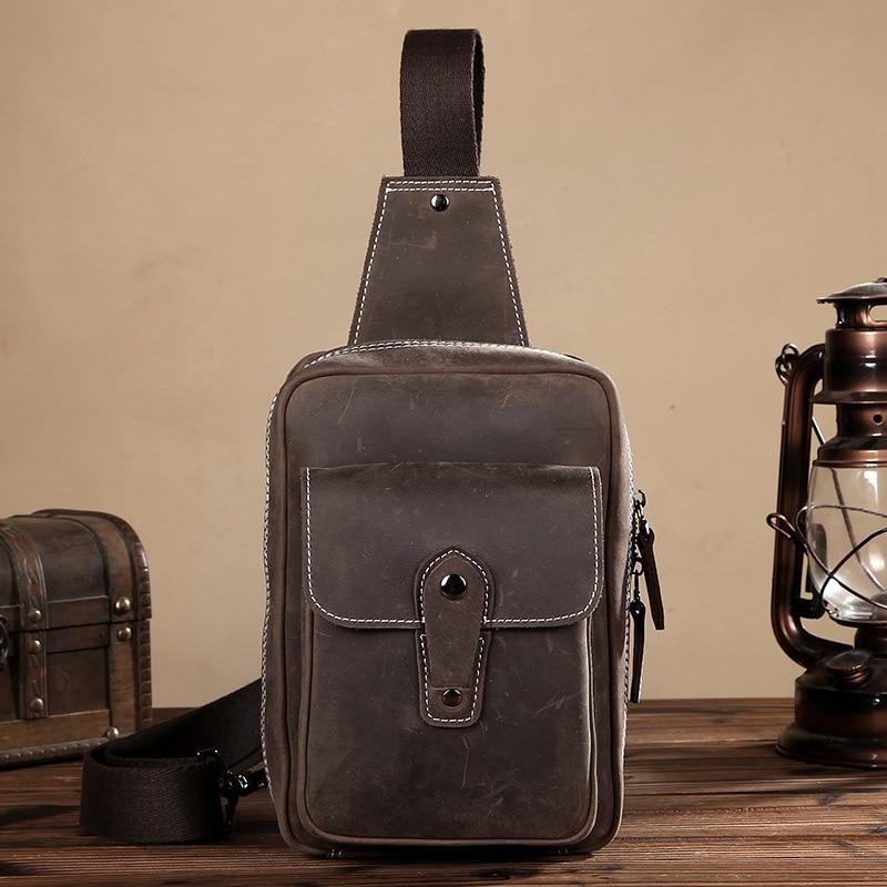 ФОТО Men's Vintage Crazy Horse Leather Shoulder Messenger Cross body Bag Sling Chest Bags