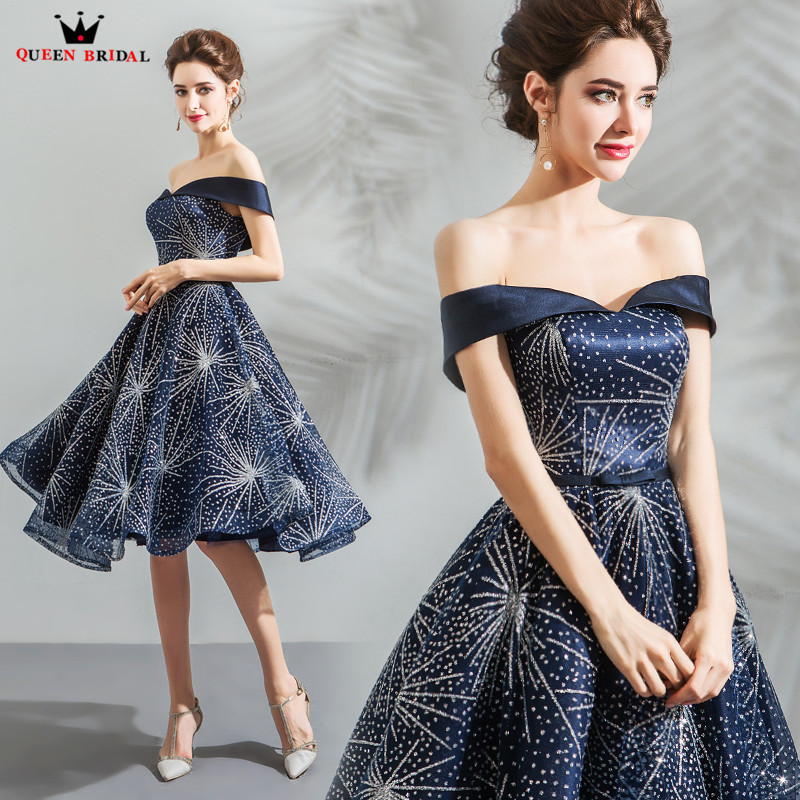 A line Cap Sleeve Sequin Tulle Dark Blue Short Formal Evening Dresses 2018 New Arrival Evening
