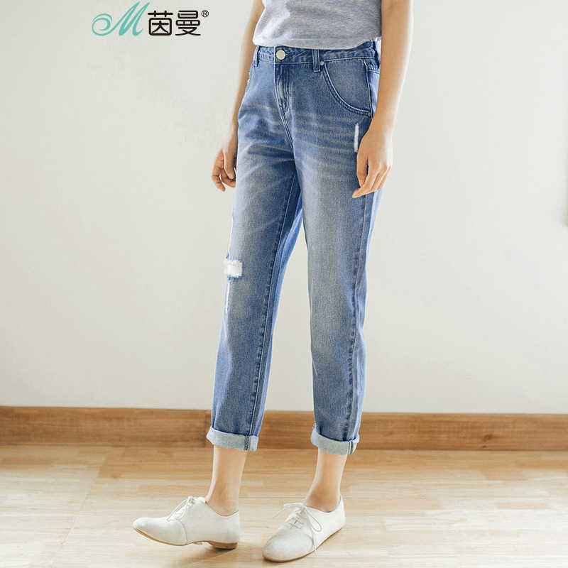 Inman Autumn Cotton washed Hole Pant Women Fashion Trousers Jeans