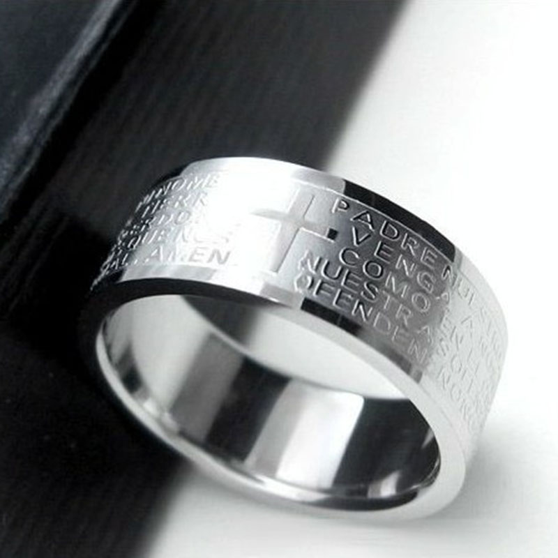 Серебряные кольца для Для мужчин Для женщин Нержавеющаясталь Библии Господня Креста Кольца панк Для мужчин подарок ювелирные изделия Кольца