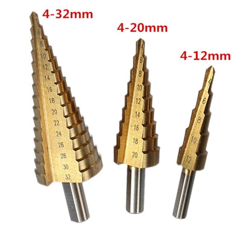 3 teile/los Metric Spirale Flöte Schritt HSS Stahl 4241 Kegel Titan Beschichtete Bohrer Bits Power Cut-Tool Set Loch Cutter 4-12/20/32mm
