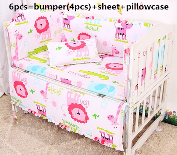 2017! 6PCS Baby Cot Crib Bedding Set Baby Bumper (bumpers+sheet+pillow cover) promotion cartoon cot bed bedding baby bedding set baby cot set crib bumper detachable include bumper sheet pillow cover