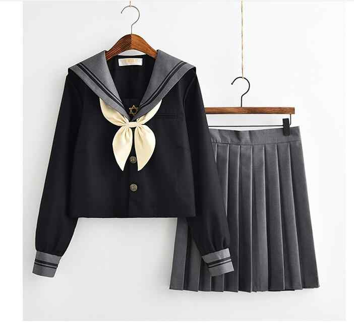 Japanse School Uniform Voor Meisjes Sweet Lolita Sailor Koreaanse Uniformen Cosplay Lange Mouw Plooirok Student Set
