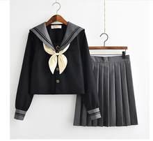 012c97e11bb4 Японская школьная форма для девочек Kawaii Lolita Sailor костюмы для  косплея рубашка с длинными рукавами плиссированная