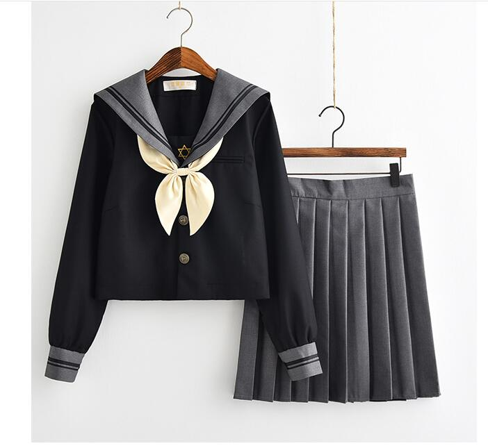 Japanese School Uniform For Girls Sweet Lolita Sailor Korean Uniforms Cosplay Long Sleeve Shirt Pleated Skirt Student Set image
