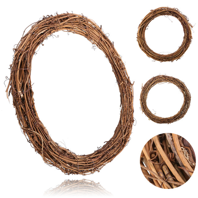 Natural Rattan Wreath DIY Christmas Natural Dried Rattan Wreath Round Hanging Garland For Door Wall Party Wedding Decorations