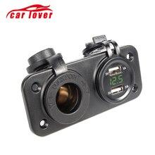 12 V-24 V Dual USB Автомобильное зарядное устройство зажигания автомобиля электронный адаптер для автомобильного зарядного устройства в байкерском стиле гнездо для автомобильного прикуривателя Зарядное устройство+ светодиодный цифровой вольтметр