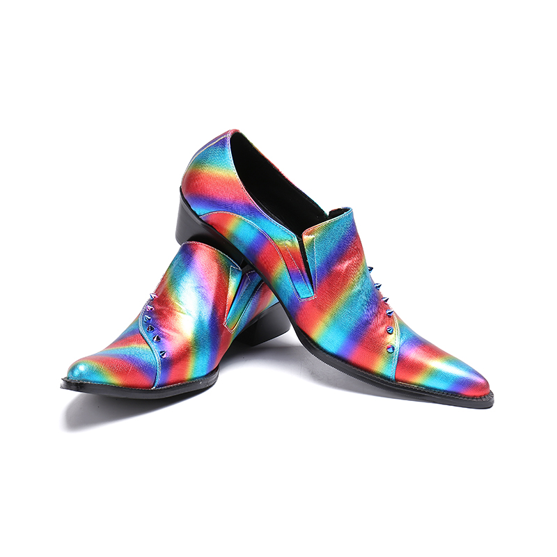 ch.kwok Color Rainbow Genuine Leather Dress Shoes Men Personality Color Rivet Spring Autumn High Heel Club Dress Shoech.kwok Color Rainbow Genuine Leather Dress Shoes Men Personality Color Rivet Spring Autumn High Heel Club Dress Shoe