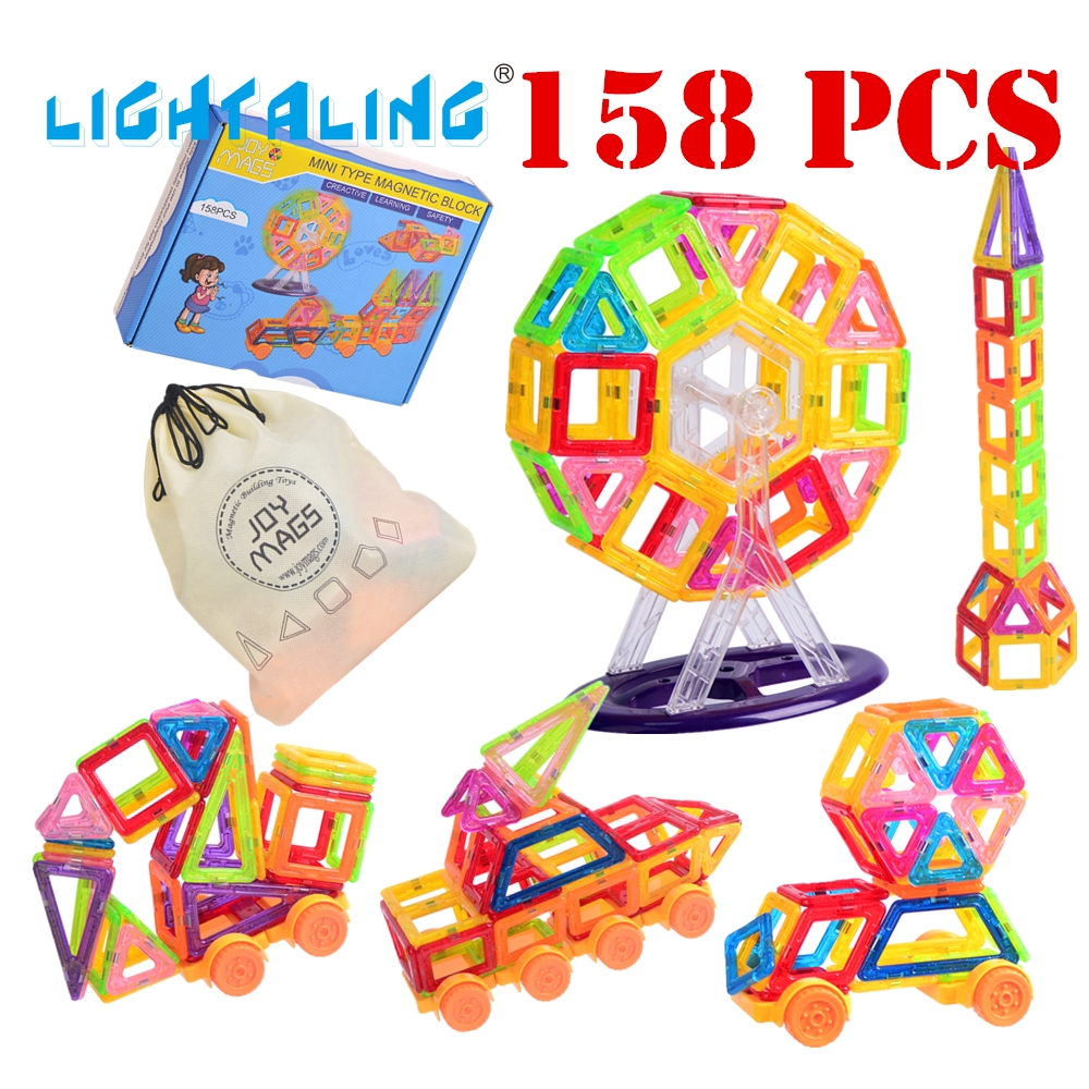 Lightaling Toy Bricks 130/158 PCS Mini Magnetic 3D BUILDING Block Designer Sets DIY Educational Toys for Children Toddler mtele brand 62 pcs pcs magnetic tiles designer construction kids educational toys creative bricks enlighten toy