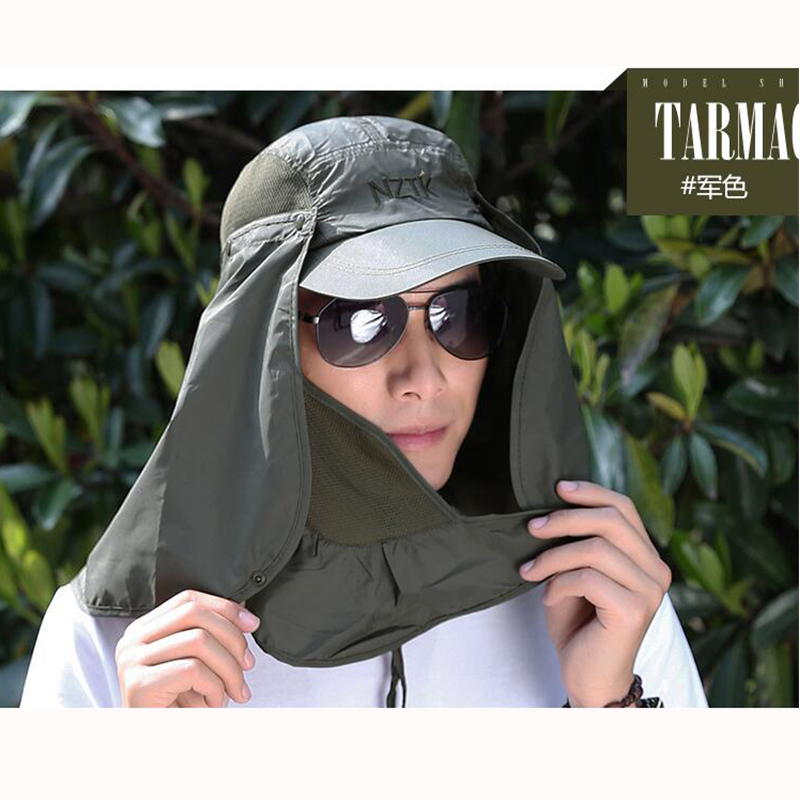 2016 new summer male quick drying sun hat shading female fishing detachable adjustable fishing caps free