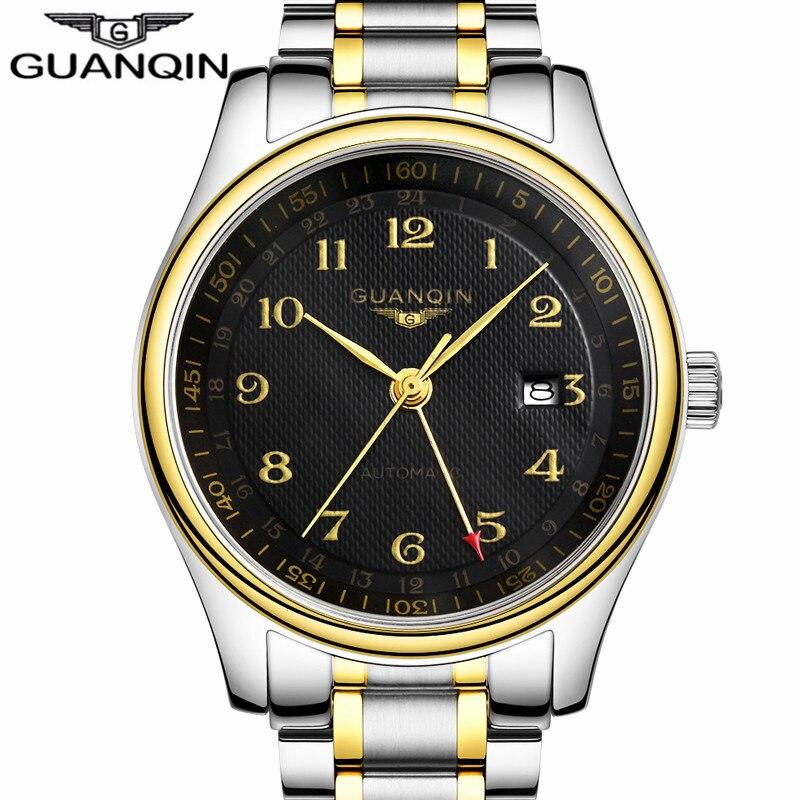 montres hommes 2017 guanqin marque de luxe en acier plein montre etanche automatique date. Black Bedroom Furniture Sets. Home Design Ideas