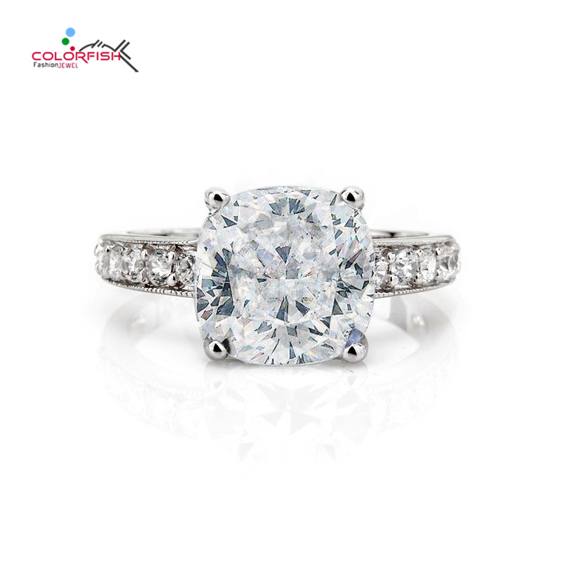 COLORFISH Solid 925 Sterling Silver Solitaire Engagement Ring 5.5Ct Cushion Cut Sona Luxury Jewelry For Women Wedding Ring Gift jewelrypalace classic wedding solitaire ring for women pure 925 sterling silver simple wedding jewelry fashion gift