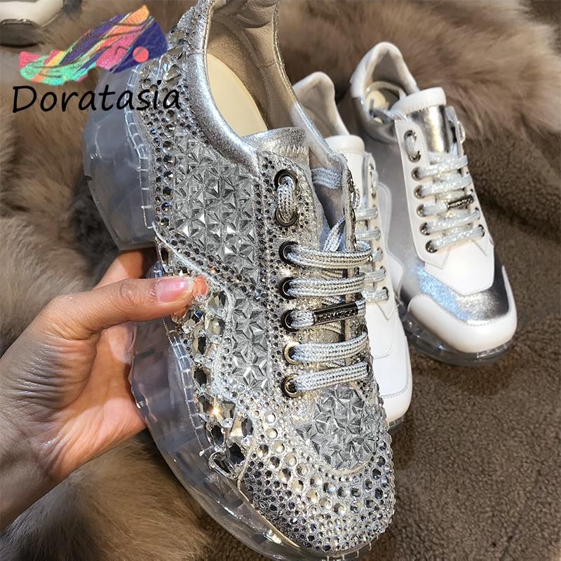 DORATASIA Spring New INS Luxury Crystal Sneakers Women Whole Genuine Leather 2019 Fashion Flat Platform Women