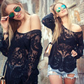White Lace Blouses Shirts for Women Plus Size Casual Spring Autumn Tops Long Sleeve Hollow Out Summer Tops XXL Blusas Feminias