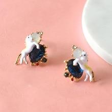 Les Nereides New Noble Unicorn Blue Gem Stud Earrings For Women New All-match Elegant Good Gift