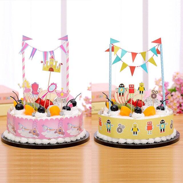 С Днем Рождения Торт флаги робот пиратский корабль торт Топпер Русалка  принцессы для 9dcd227ff56a3
