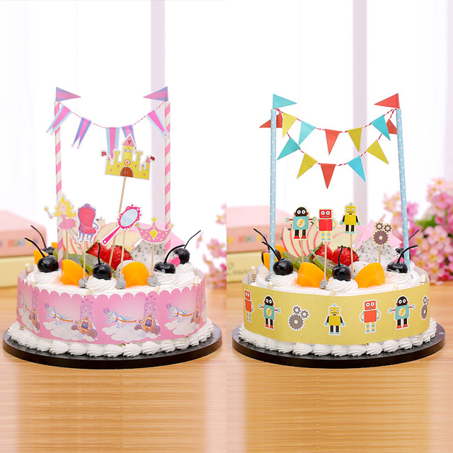1set Happy Birthday Cake Flags Robot Pirate Spacecraft Cake Topper
