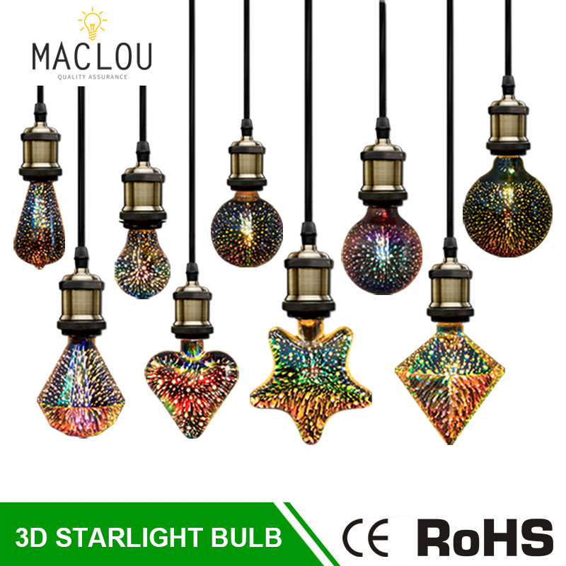 3D LED Light Bulb 220V E27 ST64 G95 Fireworks Decorative Edison Bulb Ampoule Colorful LED Novelty Lamp Christmas Party Lighting3D LED Light Bulb 220V E27 ST64 G95 Fireworks Decorative Edison Bulb Ampoule Colorful LED Novelty Lamp Christmas Party Lighting