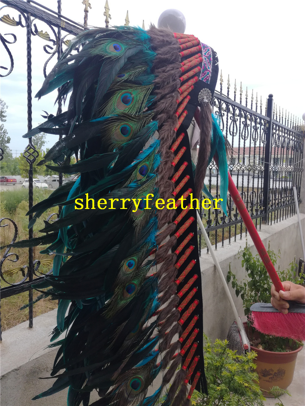 36inch Turquoise Feather headdress handmade feather costume feather hat headpiece headband