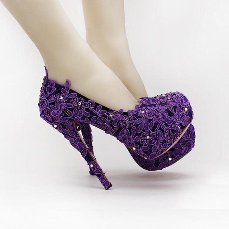Purple Flower Rhinestone Bridal Shoes High Heels Stiletto Lace