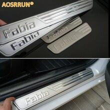 AOSRRUN,, специальная Накладка на порог из нержавеющей стали, автомобильные аксессуары для Skoda Fabia 2008- MK2 MK3