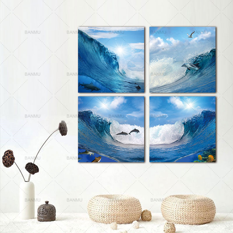 ₪Banmu pinturas de la lona arte de la pared Cuadros 4 panel paisaje ...