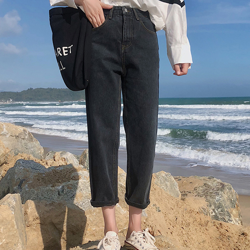Women High Waist   Jeans   Black Blue Ankle-length Denim Pants Spring Autumn Straight Denim   Jeans   Casual Loose Trousers Pockets