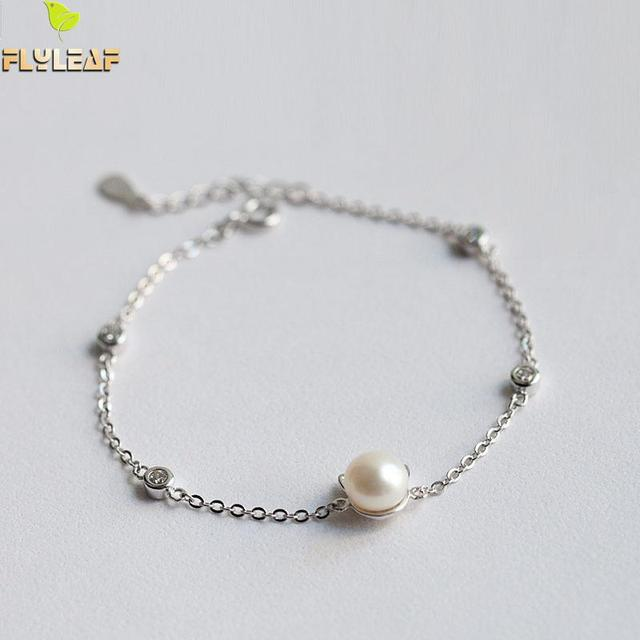Sterling Silver Imitation Pearl Cat Charm Bracelet