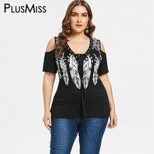 cfca00d855283 PlusMiss Plus Size 5XL 4XL Black Cold Shoulder Lace Up Tunic Tops Tee Punk  Rock