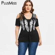 f66d7da269556 PlusMiss Plus Size 5XL 4XL Black Cold Shoulder Lace Up Tunic Tops Tee Punk  Rock Feather Print T-shirt Women Big Size T Shirts