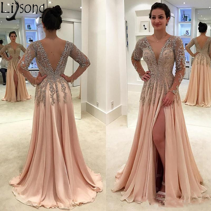 Gorgeous Crystals Beaded Long Prom Dresses Party Wear Deep V Neck Side Split Evening Gowns Chiffon Long Sleeve Formal Dress