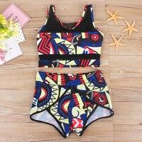 Wysoka Talia Bikini Swimsuit Tank Top Stroje Kąpielowe Kobiety 2017 Summder Wysokiej Zwężone Kostiumy kąpielowe Drukuj Mesh bikini Kostium Kąpielowy Biquini