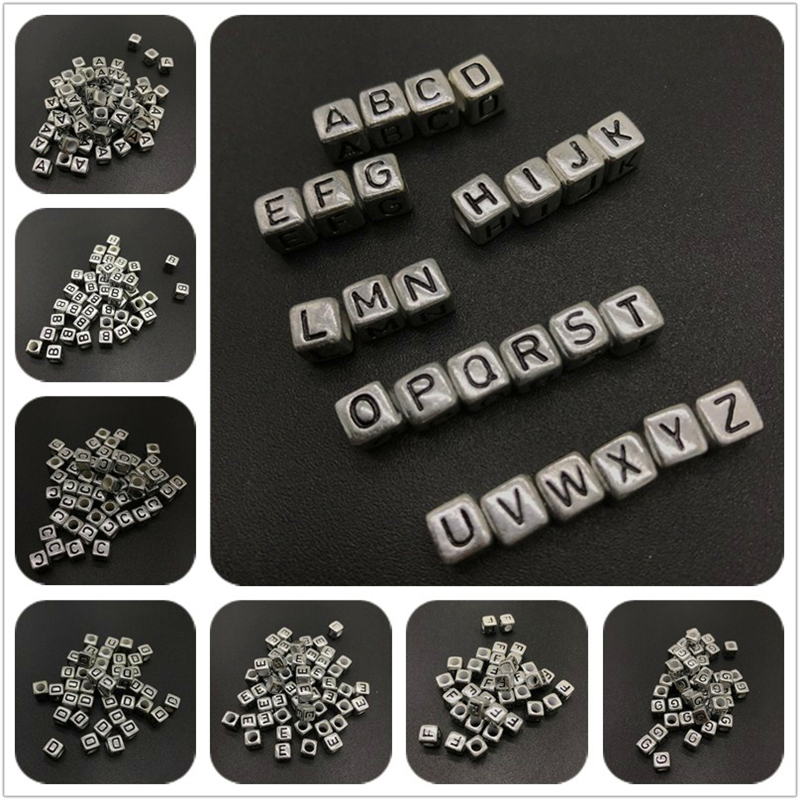 "6mm Silver Metallic Alphabet Beads Black Letter /""B/"" 100pc"