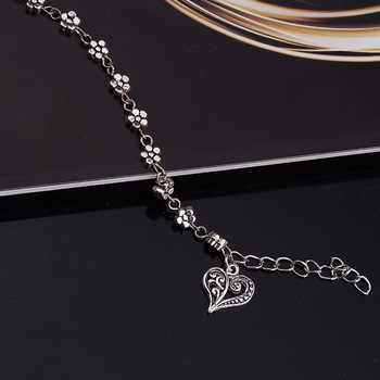 New Fashion Foot Chain Tibetan Silver Hollow Plum Daisy Flowers Heart-Shaped Anklet For Women 4