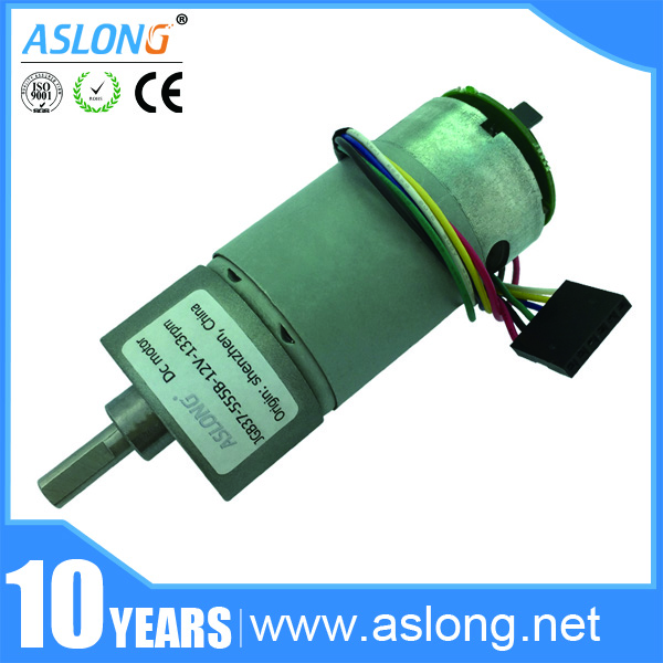 Jgb37 555b 6v 24v high torque dc gear motor with high for Dc gear motor with encoder