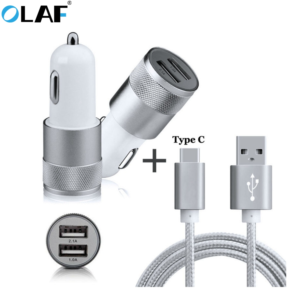 2-Port Smart USB Car Charger Car Aluminum Nylon Type C USB Cable for Samsung Galaxy S8 Plus Note 7 A3 A5 A7 2017 A320F A520F