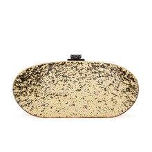 2016 Этап Дефиле Сверкающее Золото Серебро Овальной Формы роскошные вечерние сумки с цепи сумка гостевой мешок для женщин L979