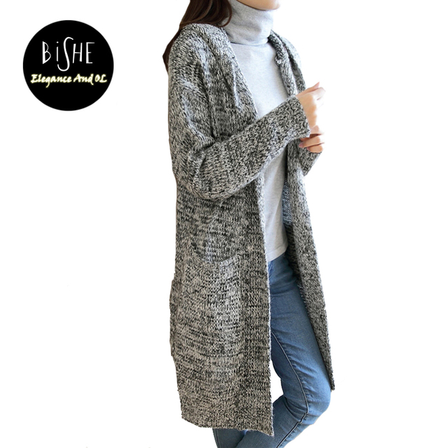 BiSHE Long Hooded Cardigan Women 2017 new fashion Autumn Gray ...
