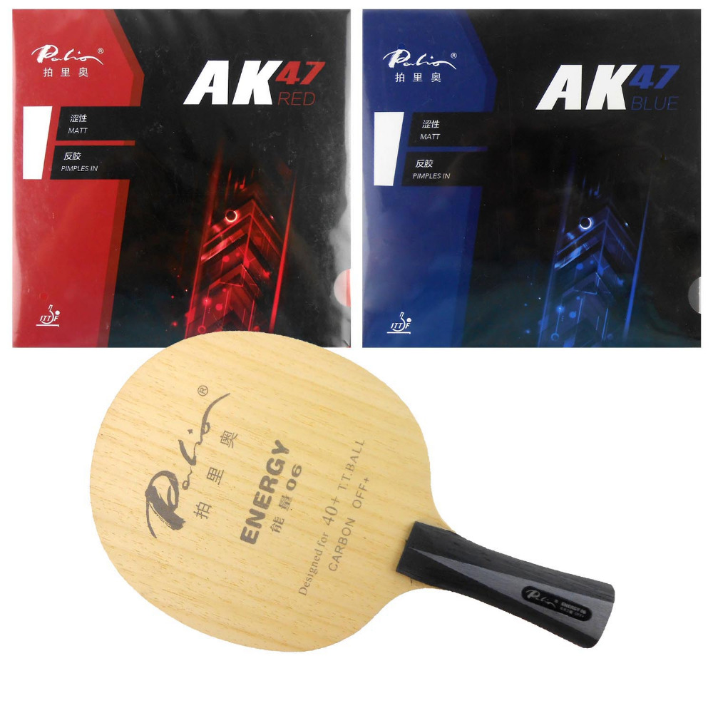 Pro Table Tennis (PingPong) Combo Racket: Palio ENERGY 06 with Palio AK47 RED/ AK47 BLUE  shakehand long handle FL pro table tennis pingpong combo racket palio chop no 1 with kokutaku 119 and bomb mopha professional shakehand fl