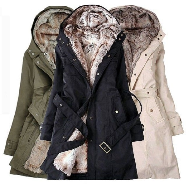 Women Winter Fur Hoodies Coats Winter Warm Long Coat Faux Fur ...